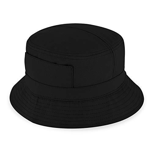 fiebig Sombrero de Pescador en algodón   Sombrero de Exterior Unisex con Bolsillos y Cremallera   Bucket Hat en Muchos Colores y tamaños (55-S, Nero)