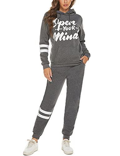 YIYIN 2 Piezas Conjunto Chándales para Mujer Sudadera Sweatshirt con Capucha + Pantalones Casual Completo Traje Deportivos para Otoño e Invierno Gris S
