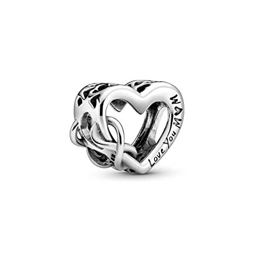 Ciondolo a forma di cuore e infinity in argento sterling