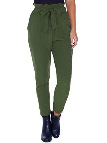 Minetom Armee-Grün Taschen High Waist Mit Schleife Bindegürtel Damen Karottenhose Paperbag Hose Stoffhose Grün L