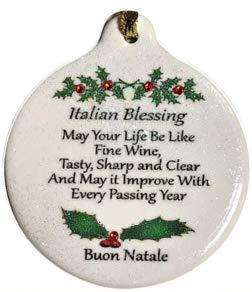 Italian Blessing Like Good Wine Porcelain Ornament Boxed Rhinestone Crystal