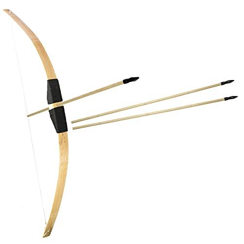 Bambus Bogenschießen Set 1x 1m langer Bambusbogen und 3x 53cm lange Gummispitz-Pfeile für Kinder ab 6 Jahre - Indoor Outdoor Spielzeug Jugendbogen Holzbogen Standard Bogen-Set (1x Standard Set)