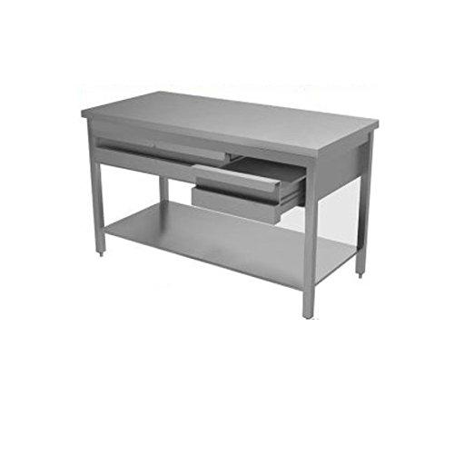 Table en acier inoxydable avec rebord et commode sans Présentoir dim. cm 120 x 60 x 85h