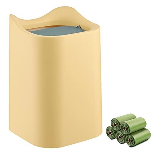 MEEQIAO Mini Mülleimer Tisch mit Schwingdeckel, mit 5 Rollen Biologisch Abbaubare Umweltmüllsäcke, 2L Tischmülleimer Klein Plastik, für Küche, Badezimmer, Büro, Schreibtisch, Waschtisch