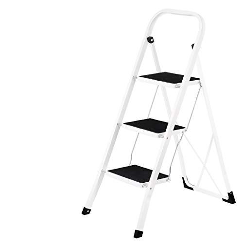 Escalera plegable de hierro, escalera de cocina de dos escalones, taburete de tres escalones, marco de escalera, escaleras de almacenamiento ultrafinas/negro, verde multifunción (color: negro, tamaño: 46,5 x 73,5 x 104,5 cm)