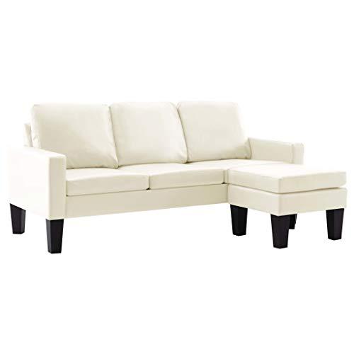 vidaXL Sofa 3-Sitzer mit Hocker Couch Polstersofa Loungesofa Sitzmöbel Wohnzimmersofa Sofagarnitur Designsofa Ledersofa Creme Kunstleder