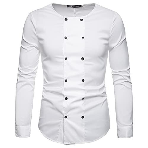 Camisa de Manga Larga con Cuello Redondo para Hombre, Color slido, de Moda, con Doble Botonadura, cmoda, cmoda, Todo fsforo, Camisa Superior L