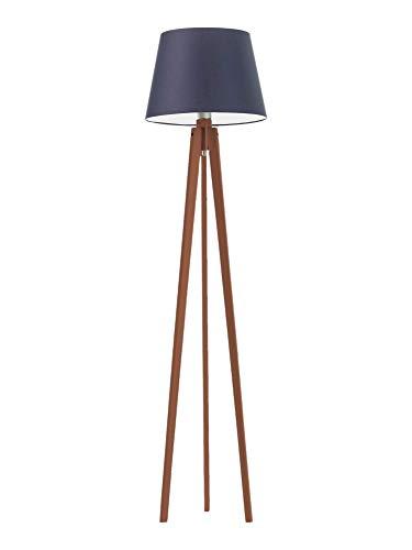 Lámpara de pie de madera CURACAO con pantalla de lámpara, color azul marino y marco caoba