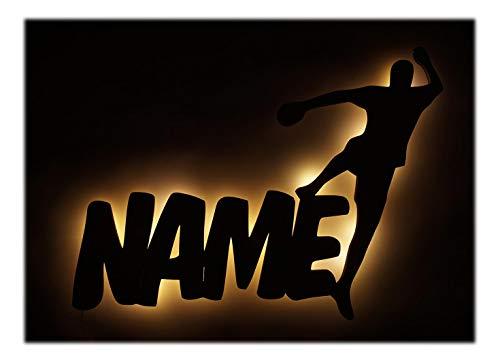 Schlummerlicht24 Led Handball Lampe mit Name Geschenke Geschenkidee für Handballer Handballerin zum Geburtstag Jubiläum
