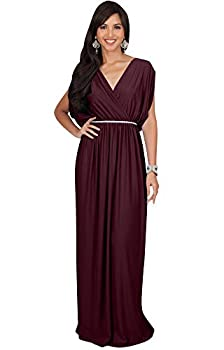 KOH KOH Plus Size Womens Long Cocktail Empire Waist Short Sleeve Formal V-Neck Bridesmaid Summer Flowy Bridesmaids Wedding Guest Grecian Gown Gowns Maxi Dress Dresses Maroon Wine Red 2XL 18-20