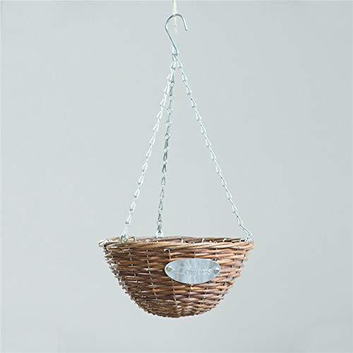 Rich-home 1 Stücke 24 cm / 30 cm Blumenampel Hanging Basket Rattan Material Deko für Außen Blumen Ampel mit Kette Geeignet für Wohnzimmer, Balkone, Terrassen, Dächer usw