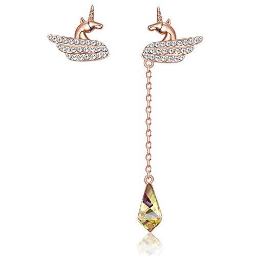 Women'S For Drop Earrings,Fashion Rose Gold Asymmetry Unicorn Crystal Dangle Earrings Hypoallergenic Lightweight Drop Pendant Jewelry Earrings For Women Girls Party Wedding Valentine'S Day Gift