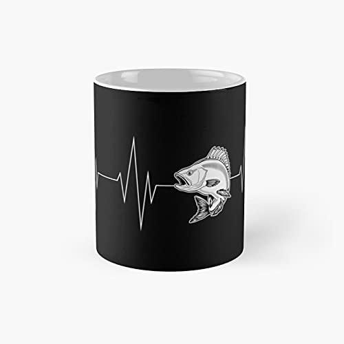 Fishing Heartbeat Classic Mug - Gift The Office 11 Ounces Funny White Coffee Mugs-nilinkep
