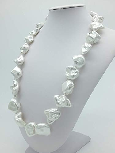 Collana Donna artigianale Pietre in Madreperla, Fatta a Mano, 60 cm