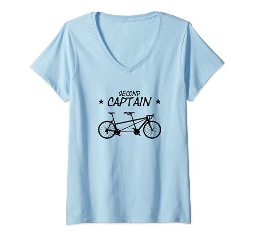 Mujer Bicicleta tándem Second Captain Bicicleta para dos personas Camiseta Cuello V