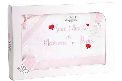 Mio piccolo Lenzuola Culla Carrozzina Navicella Neonato Neonata Cotone 100% Made in Italy Artigianali Confezione Regalo Neomamma Bambino Bambina Lenzuolina (Rosa)
