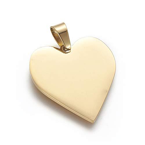 DanLingJewelry 1Pc 304 roestvrij staal stempelen Blanks hart bedeltjes hangers voor ketting armband huisdier ID naam tags DIY handwerk gouden kleur 25x23.5x1.4mm