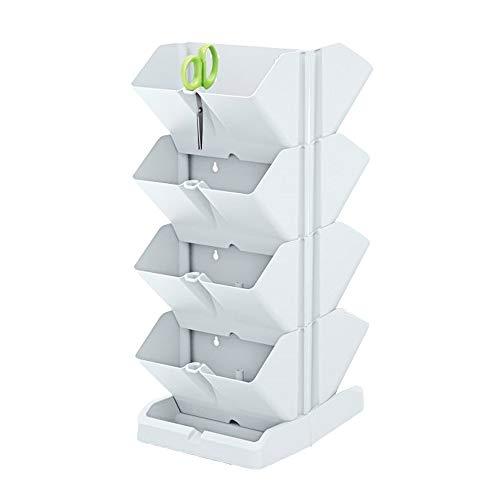 Prosperplast Pack 2 maceteros Verticales Mini Cascade de plastico en Color Blanco 19,5 (Largo) x 11,4 (Ancho) x 47,5 (Alto) cm con 2 Tijeras de Jardin, Doble