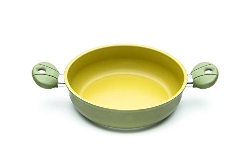 ILLA ol6528Pfanne Zwei Griffen Antihaftbeschichtung in Olivenöl 100% Made in Italy, Aluminium, Olivgrün