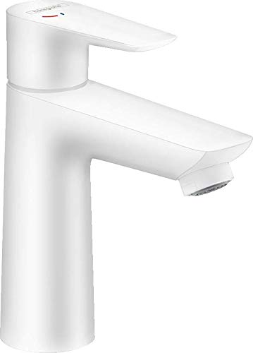 hansgrohe Grifo Talis E CoolStart (grifo de ahorro de agua con caño alto de 110 mm, desagüe de barra), color blanco mate