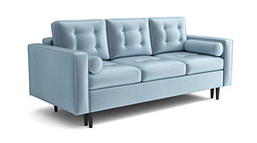 Sofa Venice Sofa mit Schlaffunktion im Samt Velours Farbauswahl (hellblau Fresh 33)