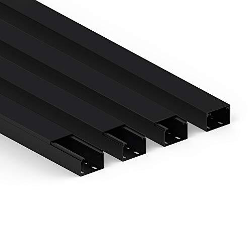 Habengut Kabelkanal (mit Montagelochung im Boden) 40x60 mm aus PVC, Farbe: Schwarz, Länge 4 m (4 x 1 m Länge)