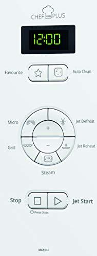 Whirlpool MCP 344 WH Forno a Microonde Chef Plus + Grill, 25 Litri, bianco, con Steamer, griglia alta
