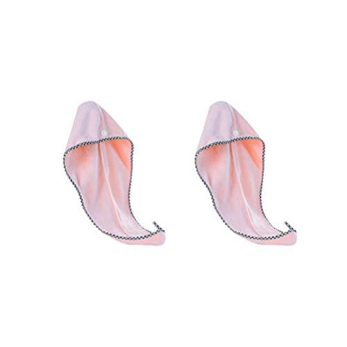 Lurrose 2 Pcs Cheveux Serviette Wrap Corail Polaire Bonnets de Bain Turban Microfibre Bonnets de Bain Douche Tête Serviette avec Boutons (Rose)