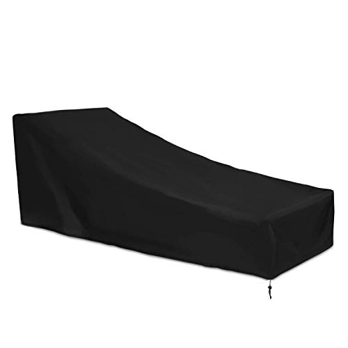 SEESEE.U Cubierta para Tumbona de Patio Cubierta para Tumbona Exterior Protector Impermeable para Muebles de jardín Negro 208 * 76 * 41 / 79cm