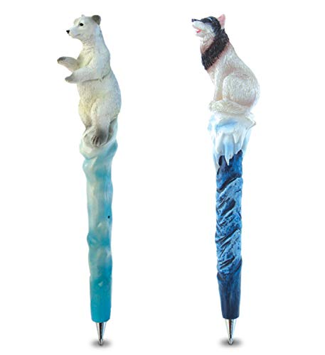Planet Pens Bundle of Polar Bear & Wild Wolf Novelty Pens - Fun & Unique Kids & Adults Office Supplies Ballpoint Pens Colorful Animal Writing Pens Instrument For Cool School & Office Decor - 2 Pack