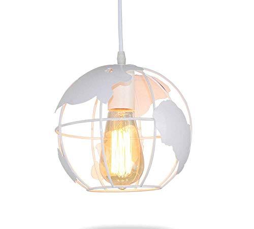 HTL Lámpara colgante de hierro con diseño de arte de modelado industrial, estilo vintage, de hierro forjado, lámpara de techo creativa para barra de interior, color blanco