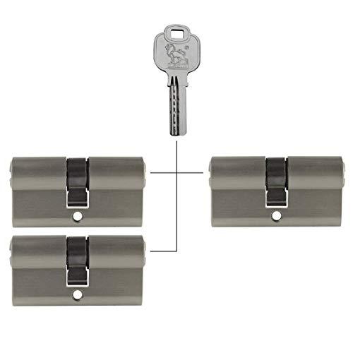3x Profilzylinder 80 mm 40/40 gleichschließend inkl. 15 Schlüssel