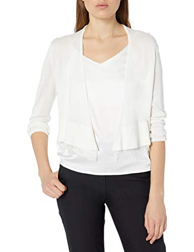 Tommy Hilfiger Women's Shrug with Lace Hem, Ivory, Small