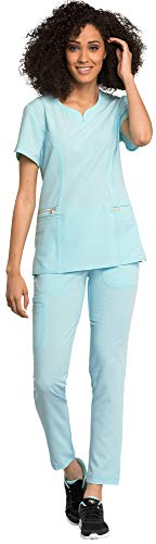 Cherokee Statement Women's Scrub Set Bundle- CK695 Curved V-Neck top & CK055 Straight Leg Pants (Clearwater - X-Large/XX-Large)
