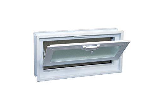 Glass Block Hopper Vent - 16x8 Vinyl Hopper Vent (White)