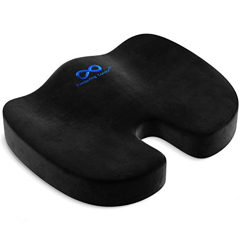 Everlasting Comfort Seat Cushion for Office Chair - Tailbone Cushion - Coccyx Cushion - Sciatica Pillow for Sitting (Black)