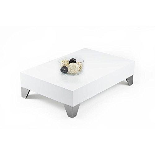 Mobili Fiver, Mesa de Centro, Modelo Evolution 90, Color Blanco Brillante, 90 x 60 x 24 cm, Made in Italy