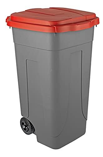 Mobil Plastic Abfalleimer, 80 l, zweifarbig, Boden grau und Deckel rot