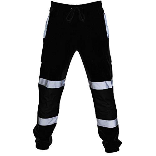 Pantalones Hombre Chandal Pantalon de Trabajo, Ropa Entrenamiento Multibolsillos Reflectantes a Rayas...