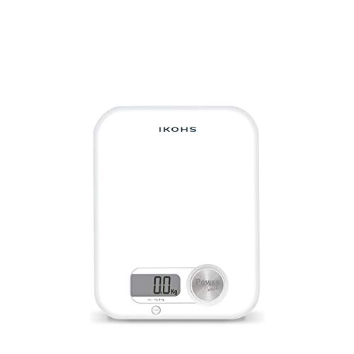 IKOHS PONDUS WHITE - Báscula de Cocina ecológica generación de energía, sin pilas ni baterias