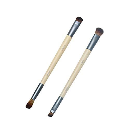 2PCS Eye Améliorer Duo Pinceau defind Blend et Smudge fard à paupières eyeliner pinceau yeux Maquillage professionnel Outils Poignée ergonomique Applicateur de beauté