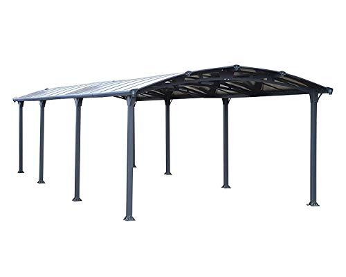 Palram Arcadia 8500 Carport Aluminium & Verzinkter Stahl 5x3,5 m, Überdachung, Autogarage, Autounterstand, Einfache Montage, Carport Bausatz, 10 Jahre Garantie, Anthrazit Inkl. Regenrinne