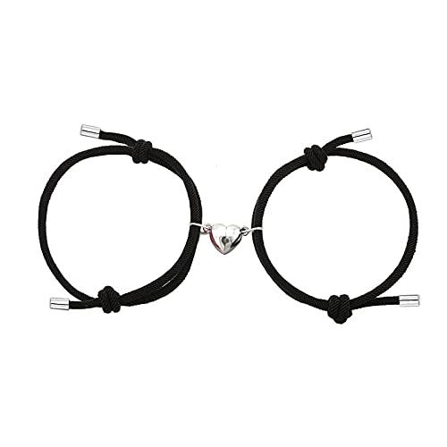 Dlihc 2pcs Magnetic Couples Bracelets for Women Men, Heart-Shaped Magnet Bracelets for Couples, Black Matching Bracelets for Best Friend, Magnetic Bracelets for Boyfriend and Girlfriend