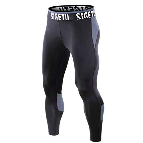 Heheja Fitnesshose Herren Stretch schnell Trocknende Enge Hose Training Outdoor Fußhose Sport Laufen Leggings Muskel Bruder Grau XL