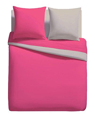 Parure Linge DE LIT Housse DE Couette 140cm x 200cm + 1 to 63 cm x 63 cm Unie Bicolore Pink/Taupe 100% Polyester Microfibres