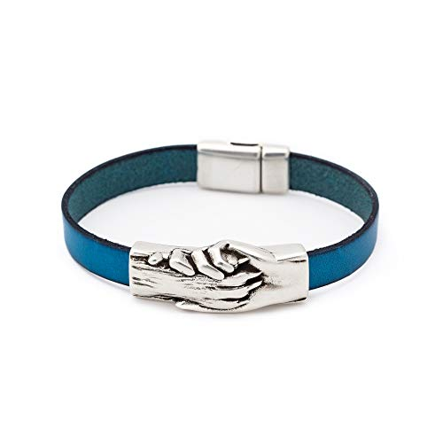 Silver-Plated Hand and Dog Paw Symbol Flat Bracelet, Genuine Leather Bracelet for Women and Men, Magnetic Clasp, Ideal for Pet Lovers and Pet Memorial, Flat Dyed Leather, Teal Color, Medium