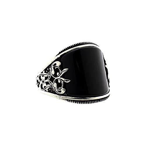 osyare Anillos de moda para mujeres, anillo de dedo para hornear barnices alivio unisex uso flor negro anillo de joyería para decoración US 9