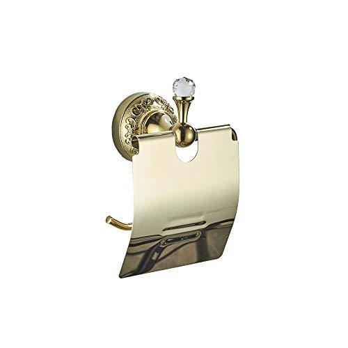 AQJD Toilettenpapierhalter aus poliertem Messing mit Deckel, Wandmontage, kunstgeschnitzt, goldfarben, Kristalldekoration