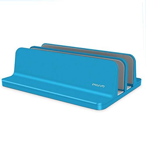 MOSISO Soporte para Ordenador Portátil,Soporte Vertical de Aleación Aluminio Escritorio Doble Ranura Ajustable Base Estable Compatible con iPad Pro/MacBook Air/MacBook Pro/Notebook,Turquesa