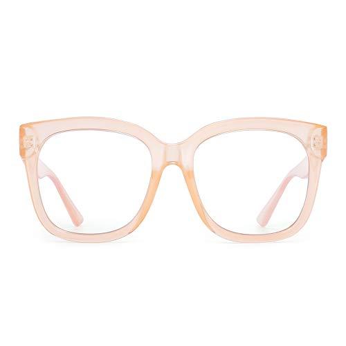 JIM HALO Gafas bloqueadoras de luz azul para mujeres Gafas cuadradas de gran tamaño para computadora Reducen la fatiga ocular Albaricoque